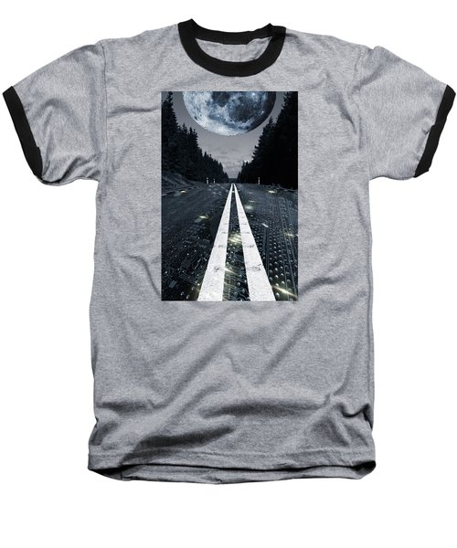 Baseball T-Shirt featuring the photograph Digital Highway And A Full Moon by Christian Lagereek