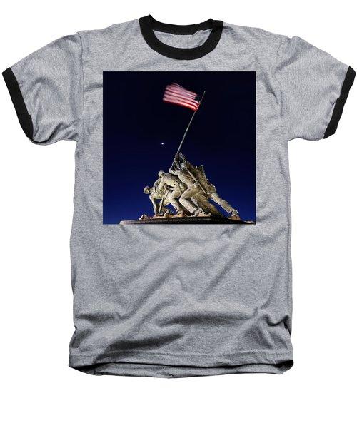 Digital Liquid - Iwo Jima Memorial At Dusk Baseball T-Shirt