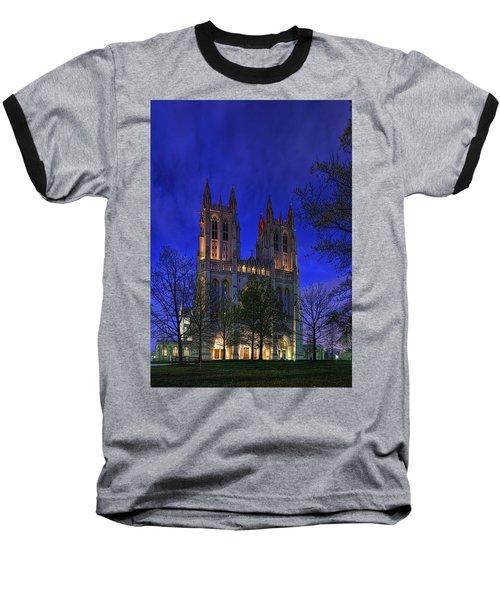 Digital Liquid - Washington National Cathedral After Sunset Baseball T-Shirt