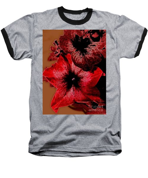 Digital Petunia Baseball T-Shirt