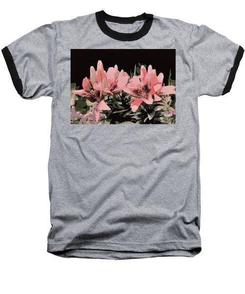 Digitalized Lilies Baseball T-Shirt