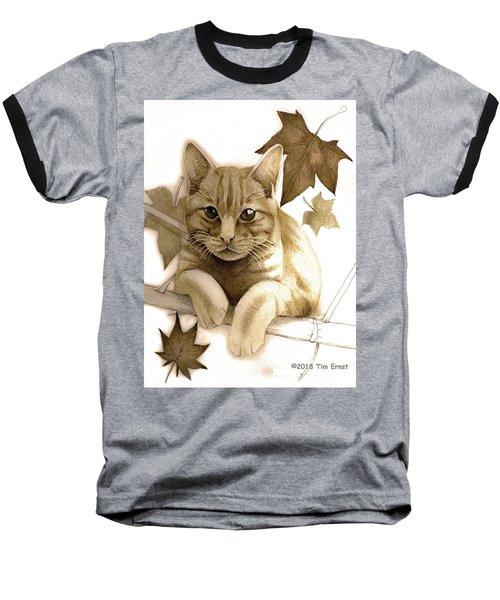 Digitally Enhanced Cat Image Baseball T-Shirt