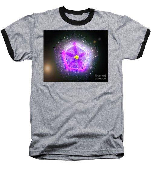 Digitally Manipulated Purple Garden Flower  Baseball T-Shirt