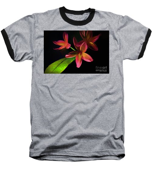 Digitized Sunset Plumerias #2 Baseball T-Shirt