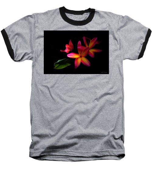 Digitized Sunset Plumerias  Baseball T-Shirt