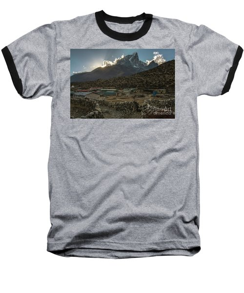 Baseball T-Shirt featuring the photograph Dingboche Evening Sunrays by Mike Reid