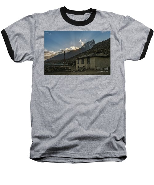 Baseball T-Shirt featuring the photograph Dingboche Nepal Sunrays by Mike Reid