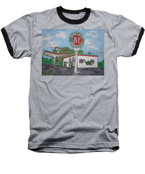 Dino Sinclair Gas Station Baseball T-Shirt by Kathy Marrs Chandler