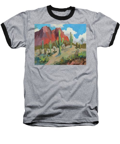 Baseball T-Shirt featuring the painting Dinosaur Mountain by Diane McClary