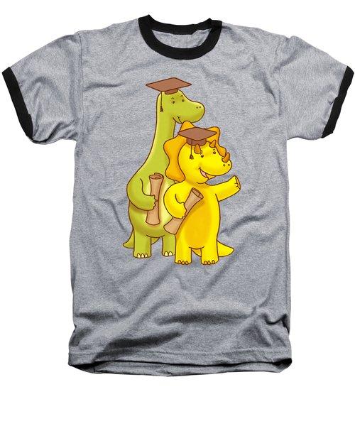 Dinosaur School Graduation Day Baseball T-Shirt by Paws Pals