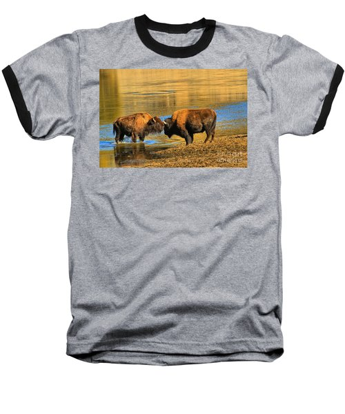 Baseball T-Shirt featuring the photograph Discussing The Crossing by Adam Jewell