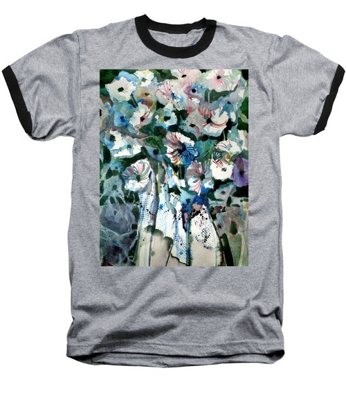 Baseball T-Shirt featuring the painting Disney Petunias by Mindy Newman