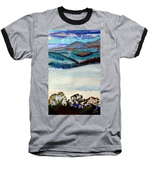 Distant Hills And Mist In The Lowlands Landscape Baseball T-Shirt