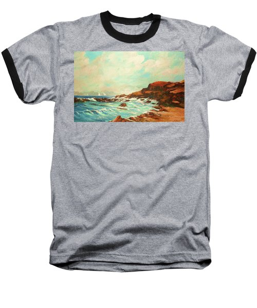 Distant Sails Of The Cove Baseball T-Shirt by Al Brown