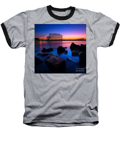 Distant Shores At Night Baseball T-Shirt by Rod Jellison