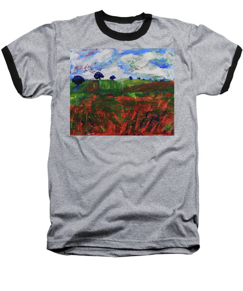 Baseball T-Shirt featuring the painting Distant Vineyards by Walter Fahmy