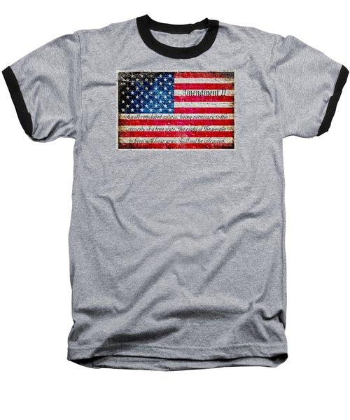 Distressed American Flag And Second Amendment On White Bricks Wall Baseball T-Shirt by M L C