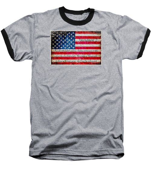 Distressed American Flag And Second Amendment On White Bricks Wall Baseball T-Shirt