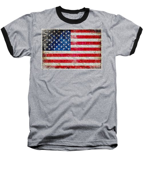 Distressed American Flag On Old Brick Wall - Horizontal Baseball T-Shirt by M L C