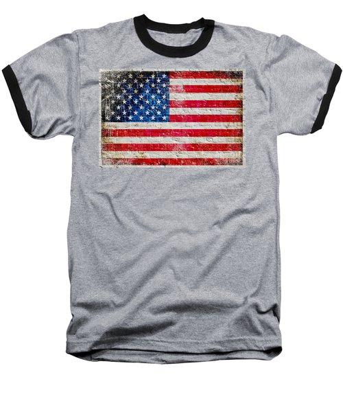 Distressed American Flag On Old Brick Wall - Horizontal Baseball T-Shirt