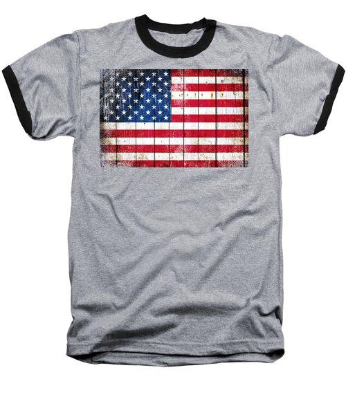 Distressed American Flag On Wood Planks - Horizontal Baseball T-Shirt by M L C