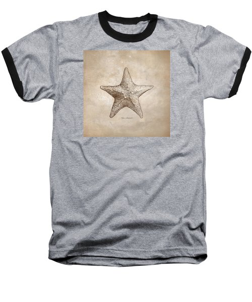 Baseball T-Shirt featuring the drawing Distressed Antique Nautical Starfish by Karen Whitworth