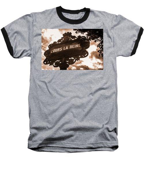 Distressed Parisian Street Sign Baseball T-Shirt