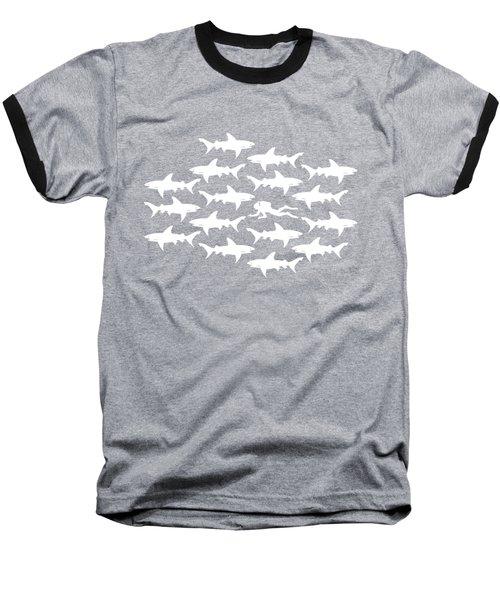 Diver Swimming With Sharks Baseball T-Shirt