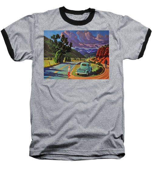 Baseball T-Shirt featuring the painting Divergent Paths by Art West