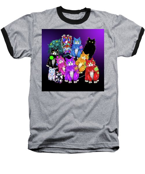 Baseball T-Shirt featuring the painting Dizzycats by DC Langer
