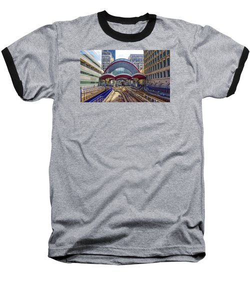 Dlr Canary Wharf And Approaching Train Baseball T-Shirt by Venetia Featherstone-Witty