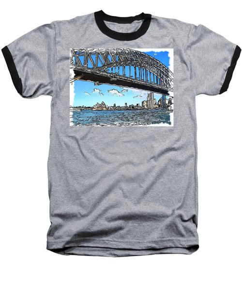 Baseball T-Shirt featuring the photograph Do-00058 Sydney Harbour Bridge And Opera House by Digital Oil