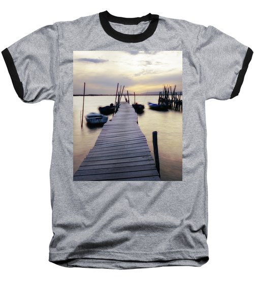 Dock At Sunset Baseball T-Shirt by Marion McCristall