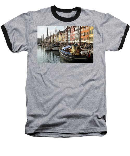 Dockside At Nyhavn Baseball T-Shirt by Eric Nielsen