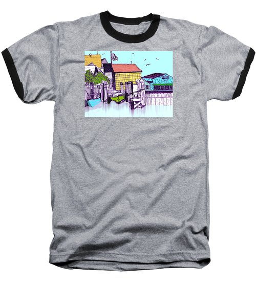Dockside - Watercolor Sketch Baseball T-Shirt by Merton Allen
