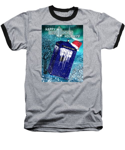 Doctor Who Tardis Holiday Card Baseball T-Shirt