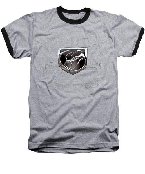 Dodge Viper  3 D  Badge Over Dodge Viper S R T 10 Silver Blueprint On Black Special Edition Baseball T-Shirt by Serge Averbukh