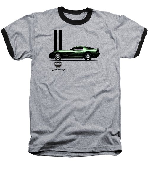 Dodge Viper Snake Green Baseball T-Shirt by Mark Rogan