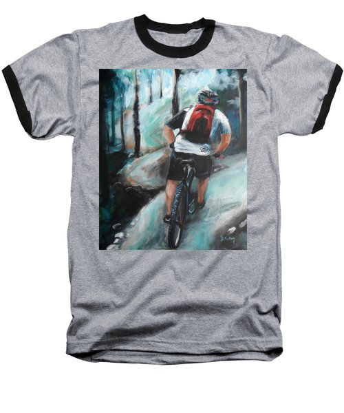 Dodging Trees Baseball T-Shirt by Donna Tuten