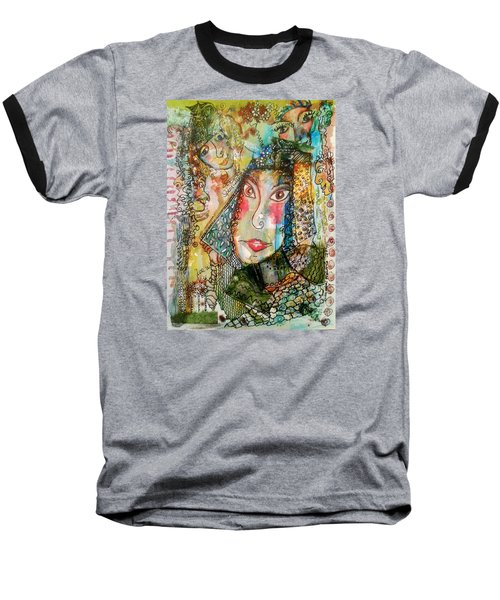 Doe Eyed Girl And Her Spirit Guides Baseball T-Shirt by Mimulux patricia no No