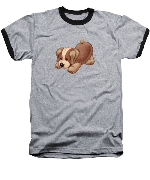 Dog Pounce Baseball T-Shirt by Andy Catling