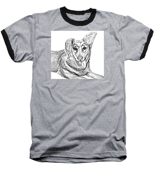 Dog Sketch In Charcoal 1 Baseball T-Shirt by Ania Milo