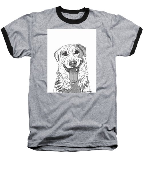 Dog Sketch In Charcoal 2 Baseball T-Shirt by Ania M Milo
