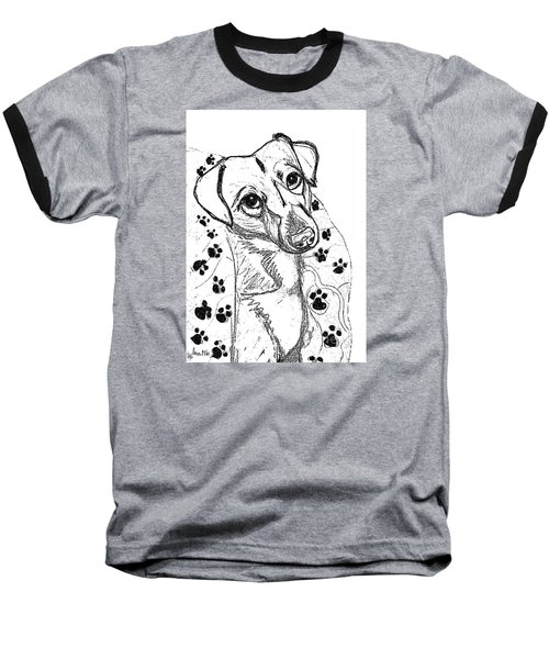 Dog Sketch In Charcoal 4 Baseball T-Shirt by Ania M Milo
