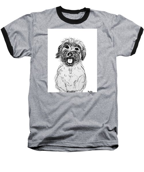 Dog Sketch In Charcoal 6 Baseball T-Shirt by Ania M Milo