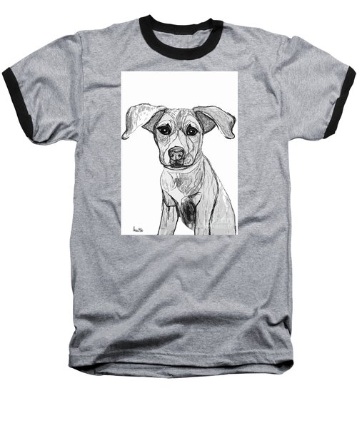Dog Sketch In Charcoal 7 Baseball T-Shirt by Ania M Milo