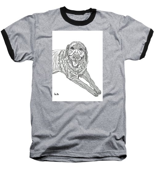 Dog Sketch In Charcoal 9 Baseball T-Shirt by Ania M Milo
