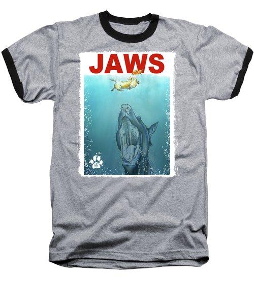 Dog-themed Jaws Caricature Art Print Baseball T-Shirt