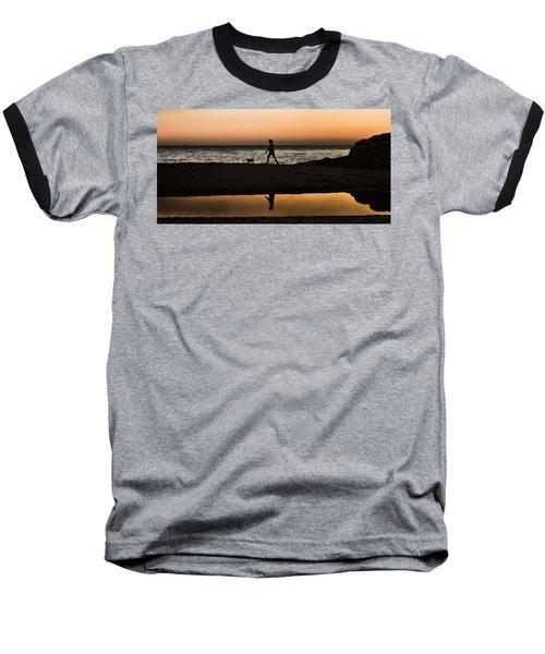 Dog Walker At Sunset Baseball T-Shirt