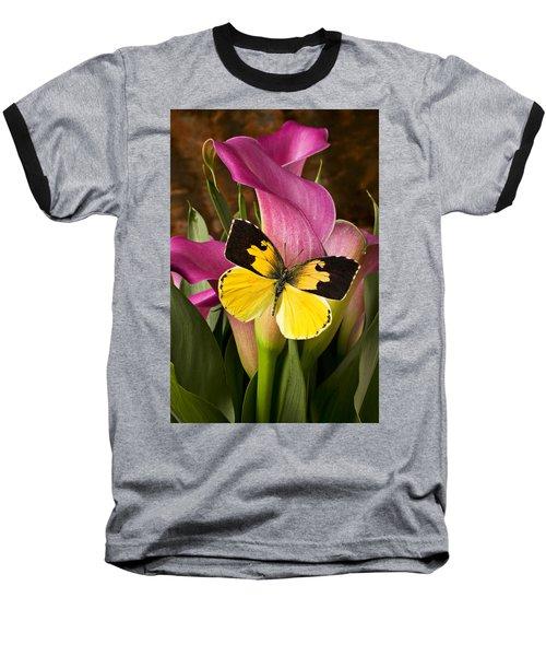 Dogface Butterfly On Pink Calla Lily  Baseball T-Shirt